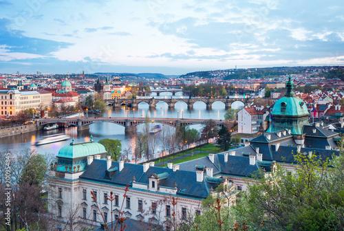 Poster Praag Prague on the river Vltava, Czech Republic