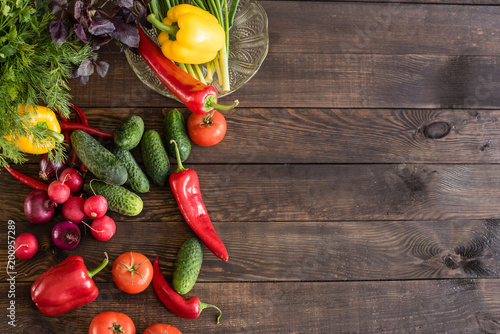 Plexiglas Hot chili peppers Fresh healthy organic vegetables. Food background