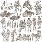 Soldiers, Army - An hand drawn collection. Warriors on white, isolated. Freehand sketching. - 200961881