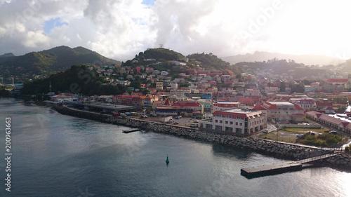 Caribbean harbour town aerial view grenada - 200963663