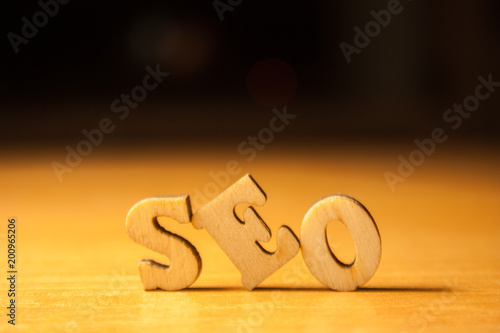 The word seo written with wooden letters background - 200965206