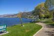 Winding footpath through park along Lake Okanagan, Naramata, BC.