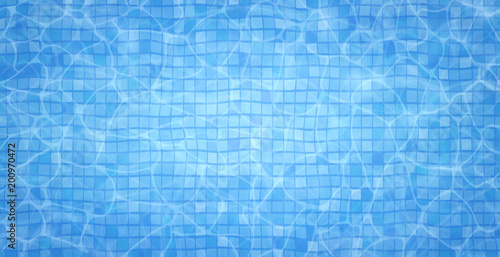 Swimming pool bottom caustics ripple and flow with waves background. Summer background. Texture of water surface. Overhead view. Vector illustration background. - 200970472