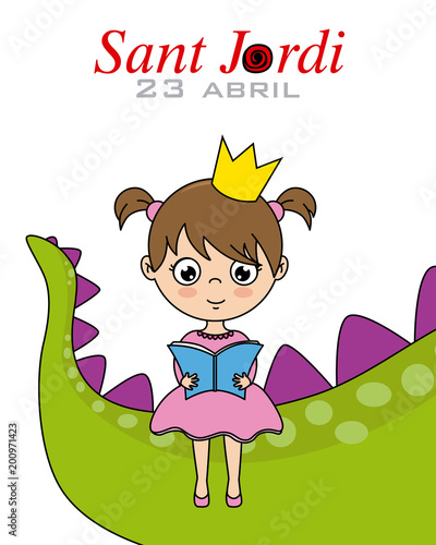 Sant Jordi.Catalonia traditional celebration.princess reading a book sitting on the tail of a dragon
