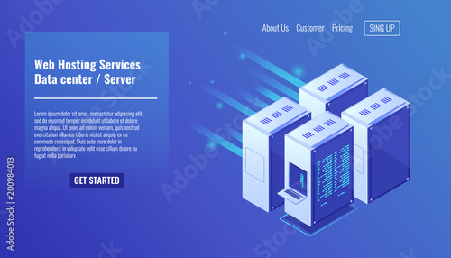 Computer hardware, server room rack, website hosting, database datacenter isometric vector illustration