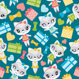 Seamless pattern of raccoon girl and colorful gift boxes vector cartoon illustration for kid wrapping paper, kid fabric clothes, and wallpaper