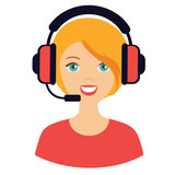 vector flat icon of girl with headphones for online support - 200984601