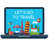 vector icon of online booking of travel around world - 200984631