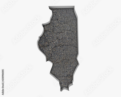 Fotobehang Chicago Illinois IL Road Map Pavement Construction Infrastructure 3d Illustration