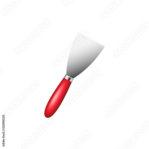 Metalowa szpatułka z czerwoną rączką