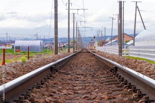 In de dag Spoorlijn 鉄道イメージ 単線の線路