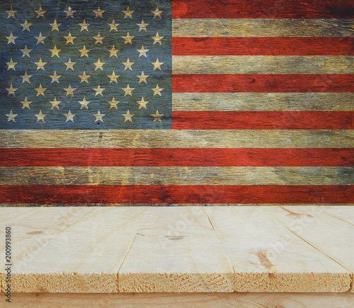 wooden table on USA flag background celebrate American Independence Day of 4th July