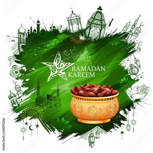 Ramadan Kareem Generous Ramadan greetings for Islam religious festival Eid with freehand sketch Mecca building - 200997266