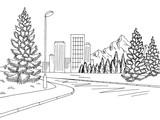 Street road graphic black white city mountain landscape sketch illustration vector - 200999474