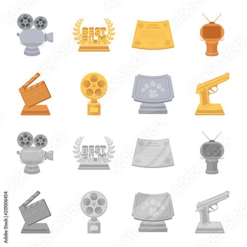 Złota pistolet, srebrna nagroda za najlepszą rolę drugoplanową i inne nagrody. Film nagrody zestaw ikon kolekcji w kreskówka, monochromatyczne styl wektor symbol ilustracji sieci.