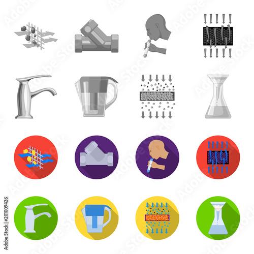Mężczyzna, łysy, głowa, ręka Wodnego filtracyjnego systemu ustalone inkasowe ikony w monochromu, mieszkanie stylowa wektorowa symbolu zapasu ilustraci sieć.