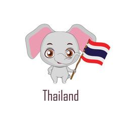 National animal elephant holding the flag of Thailand