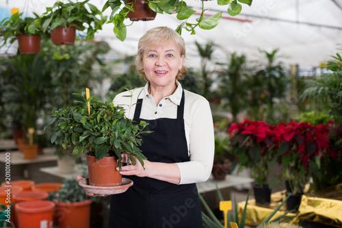 Woman gardener is standing with flower near plants