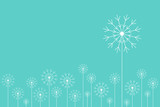 Minimal style background with white dandelions on blue.