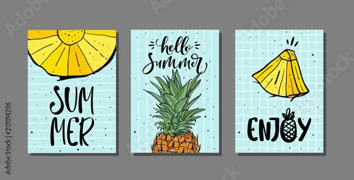 Vector set of bright summer cards with pineapple and hand drawn lettering - 201014206