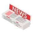 Newspaper icon. Isometric illustration of newspaper vector icon for web