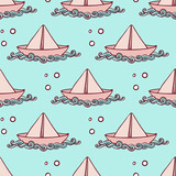 Marine pattern with paper ship