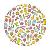 round design elements with gardening icons