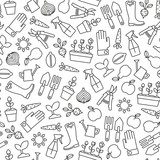 seamless pattern with gardening icons - 201029014