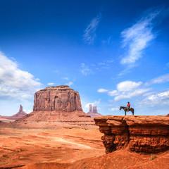 Monument Valley with Horseback rider / Utah - USA