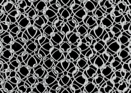 3d rendering. Abstrakt wiążący bielu srebra torusa pierścionków wzoru ściany tło.