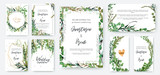 Wedding invitation frame set; flowers, leaves, watercolor, isolated on white. Sketched wreath, floral and herbs garland with green, greenery color. Handdrawn Vector Watercolour style, nature art. - 201031675
