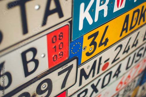Collection of European license plates from different countries. - 201037289