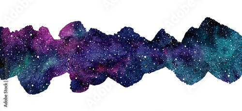 Cosmic, cosmos, astro watercolor background. Elongated brush stroke shape, frame, border. Colorful watercolour galaxy or night sky with stars. Hand drawn aquarelle illustration with blobs texture.