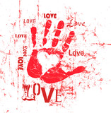 heart and love illustration, grunge style, vector