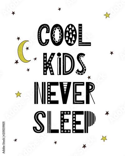 Cartoon Nursery Poster For Kids Scandinavian Lettering Quote