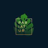 Monstera Palm Leaf In a Golden frame with Modern Typography. Abstract Vector Sign, Symbol or Logo Template. Elegant Emblem or Card Design.