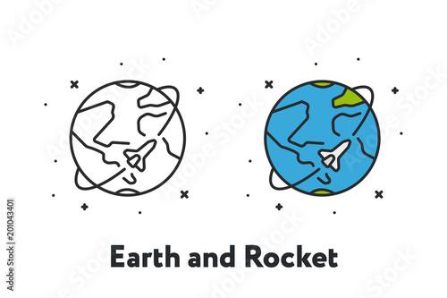 Fototapeta Rocket Space Ship Flying Around Planet Earth Minimal Color Flat Line Outline Stroke Icon