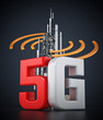 5G text and telecommunications tower with wave symbols. 3D illustration