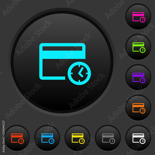 Credit card transaction history dark push buttons with color icons