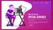 Website Page Vector. Business Website. Site Scheme Template. Cartoon People. Creativity Goal. Illustration
