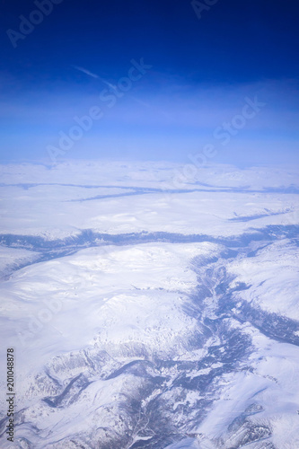 Aerial view of snowy Norway from the plane - 201048878