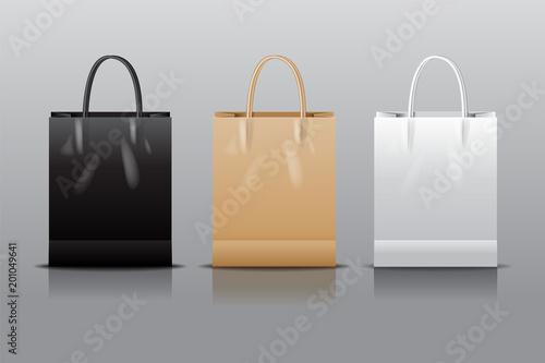 Black , white, brown  bag, shopping,  vector illustration.