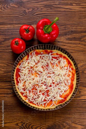 Aluminium Pizzeria Fresh original Italian raw pizza, preparation in traditional sty