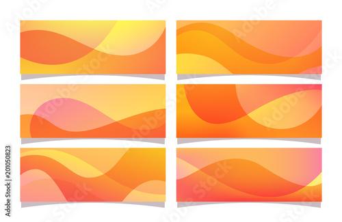 Kolekcja transparent abstrakcyjnych kolorów gradientu z dekoracji kształty fal. Ilustracja kolorowy wektor, idealny do okładek, nagłówków internetowych, wzorów banerów i tła. Kolekcja pomarańczowy transparent.