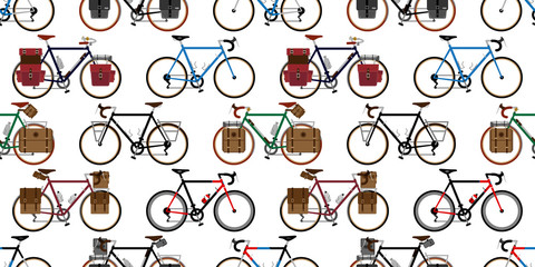 bicycle Seamless Pattern vector cycling isolated vintage wallpaper background repeat illustration graphic