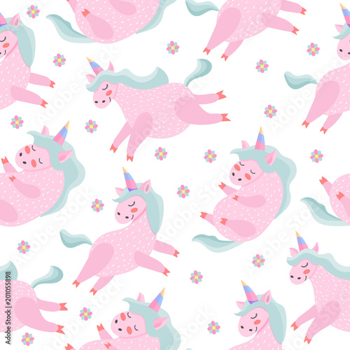Cotton fabric Seamless pattern. Unicorn. Magical. Really. Pink. Children's, for printing on cards and prints on clothes.