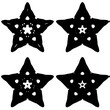 Four decorative star in a black - white colors