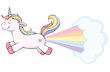 cute unicorn farting rainbow - 201059089