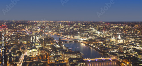 London cityscape at night, United Kingdom. Aerial view - 201060434