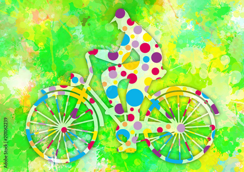 Colorful cyclist on spring watercolor background. Illustration of cyclist on old bicycle on watercolor abstract background